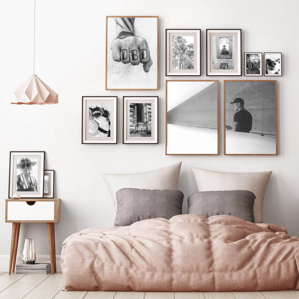 mock up posters in bedroom interior. Interior hipster style. 3d